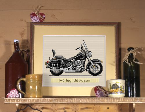 "wzór do haftu liczonego ""Harley Davidson"""
